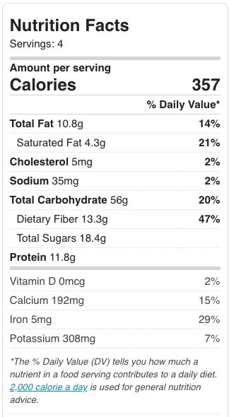 Healthy Steel cut oats nutritional information