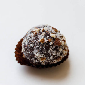 date cashew cacao and coconut ball