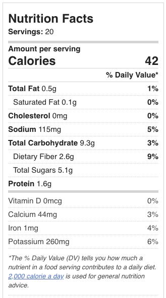 Kimchi nutritional information
